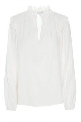 Ecru silkebluse med rysjer Dea Kudibal - elly natural white