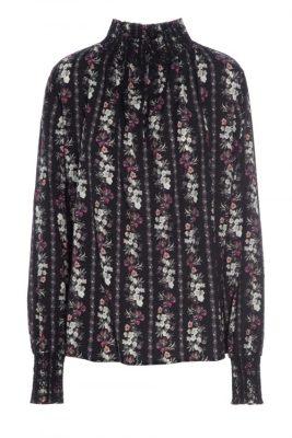 Sorthvitburgunder mønstret oversized bluse med polo vaffelsøm Dea Kudibal - robina string