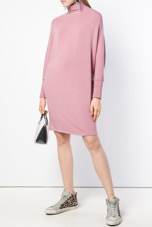 Sort (ikke rosa) oversized fleece jersey kjole Majestic Filatures - J004 fro 003