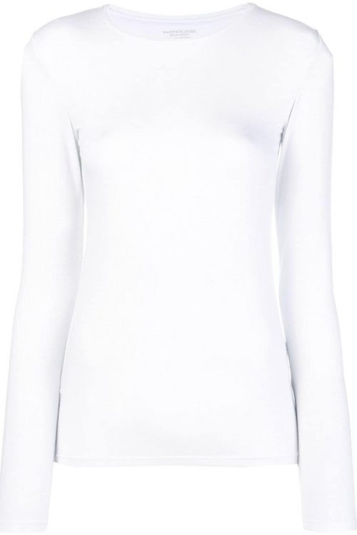 Hvit eller sort skimret long sleeve topp Majestic Filatures - J014 fts 008