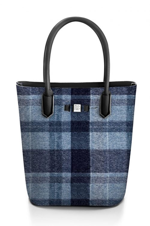 Wool blue rutet 'Popstar' shopper Save my Bag - 10230N-LY-ST LYCRA W-BLUE