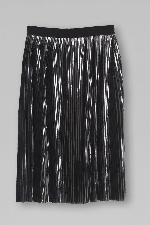 Sølv plissésateng skjørt med metallfibre By Malene Birger - Iauno skirt Q63915004