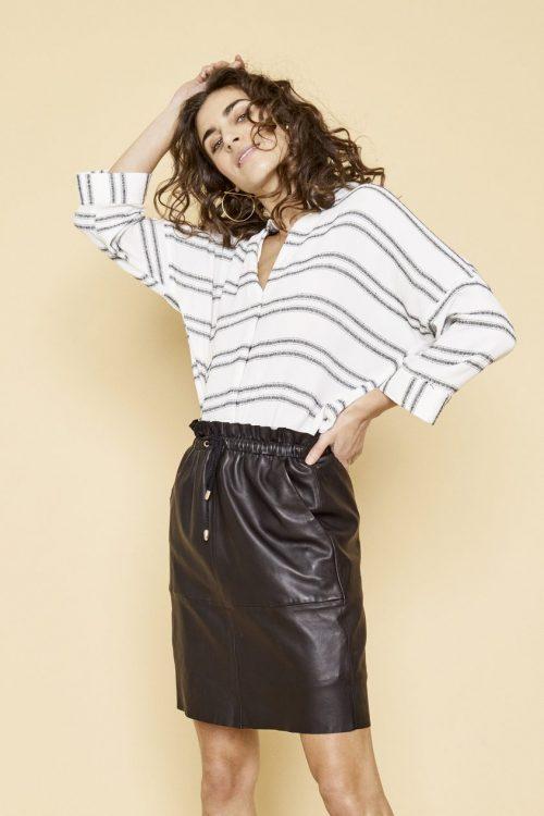 Sort skinnskjørt med strikk i liv Mos Mosh - 126390 ellie leather skirt