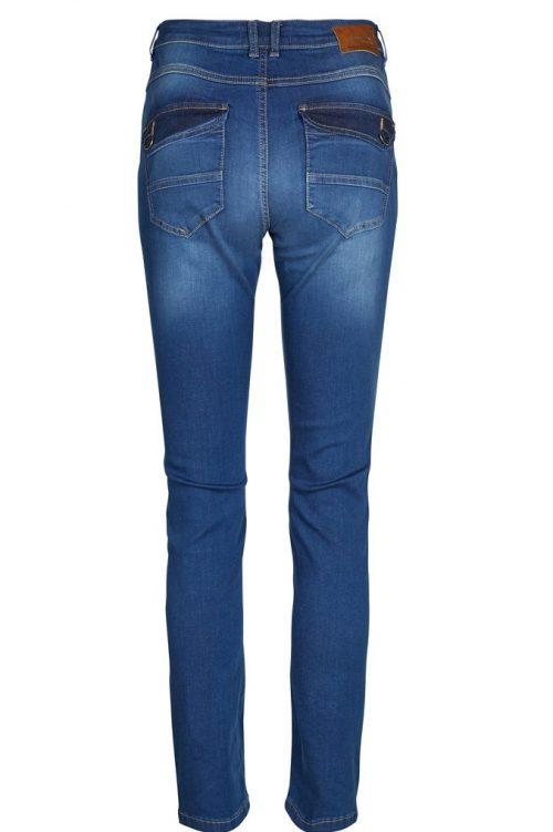 Blue denim tynn jeans med glidelås ved lomme Mos Mosh - 126990 nelly sateen