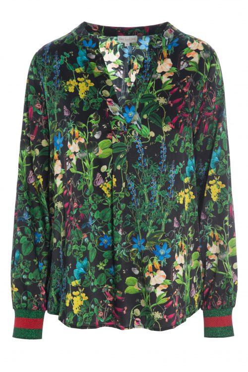 Grønnsortblomstret silkebluse med strikkmansjetter Dea Kudibal - svannah marry black