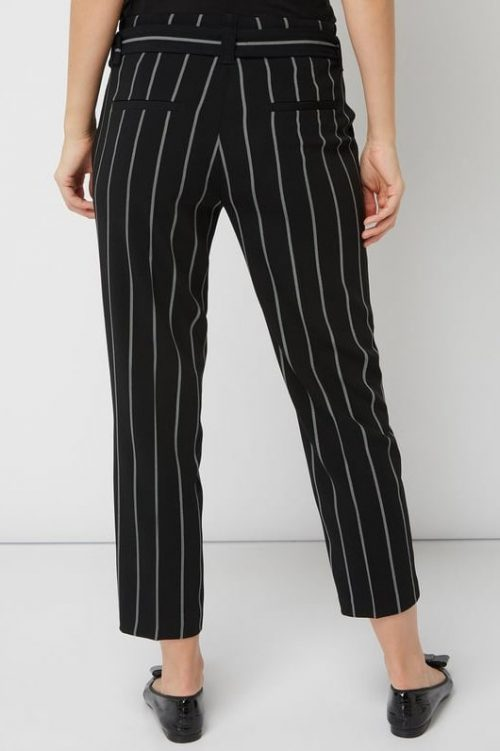 Sorthvit stripet vid kort klassisk bukse med belte Cambo - 6740-0347/00 kaia 27