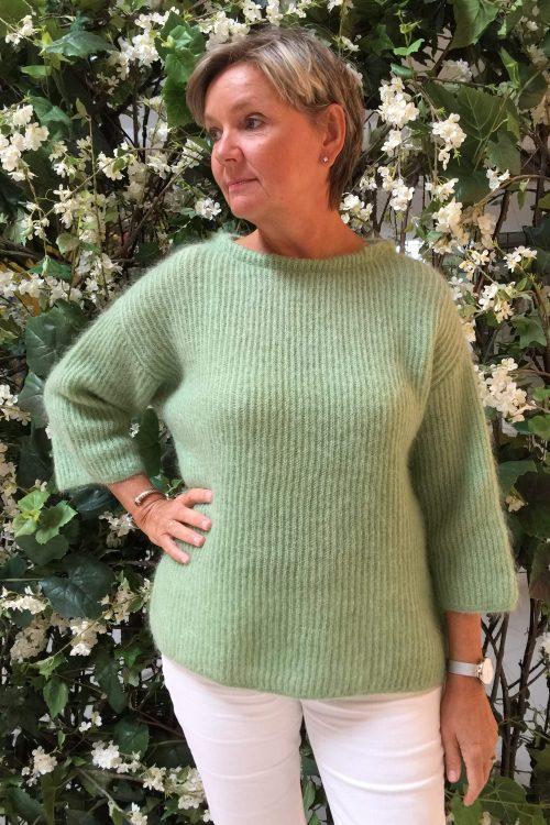 Gul eller lindegrønn ribbet mohairmix genser med 3/4 erm Dear Dharma - milla