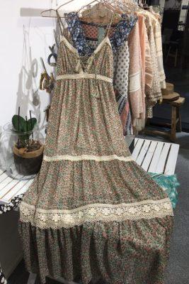 Mintrosamønstret lang kjole Nüd - coquelicot mint