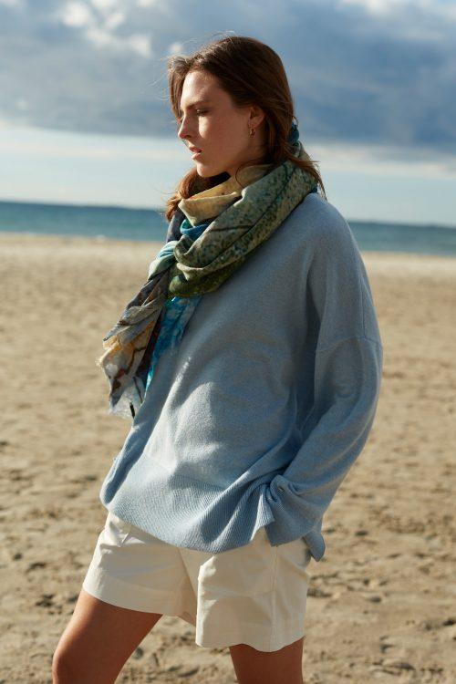 Nydelig lyseblå 100% merino storgenser med ribbet kant Katrin Uri - 329 benedict loose pullover