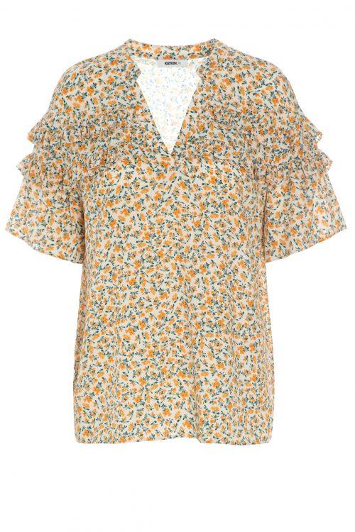 Offwite-appelsin småblomstret frill bluse Katrin Uri - 425 catherine frill blouse