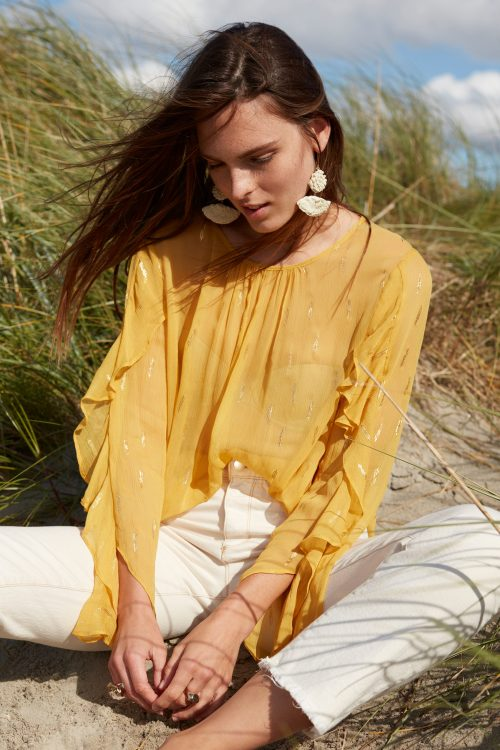Gul viskose frill bluse Katrin Uri - 492 positano frill sleeve blouse