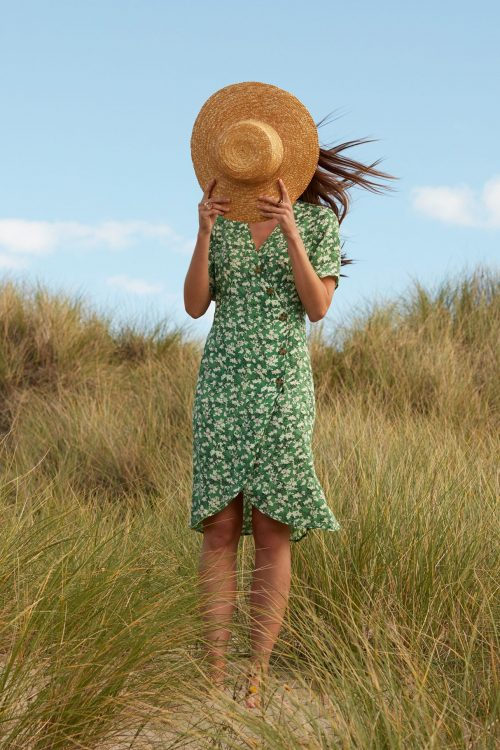 Guccigrønn-mønstret silkemix feminin kjole Katrin Uri - 621 antibes buttoned dress