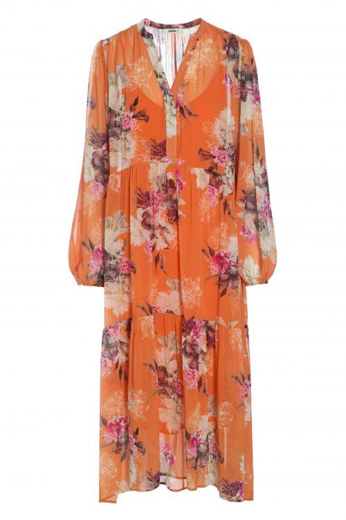 Sortrosablomstret eller orangerosa silke maxikjole Katrin Uri - 628 fragrance maxi dress