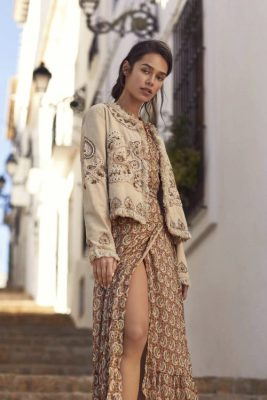 Rustoker paisleymønstret lang kjole Nekane - chianti gs azafran