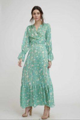 Lang grønnmønstret kjole Nekane