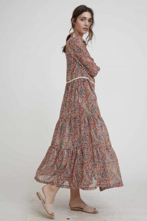 Multicolor paisleymønstret maxi skjorte-kjole Nekane - lana gg