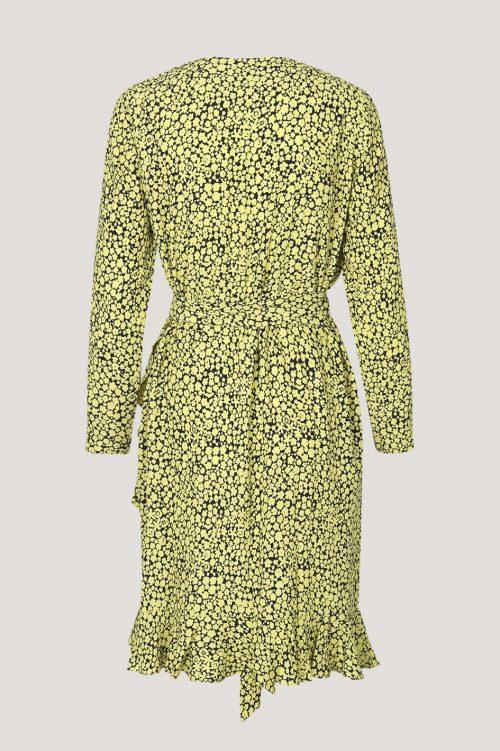 Gulsort blomstret kjole med volanger Samsøe - 6515 limon ls dress aop