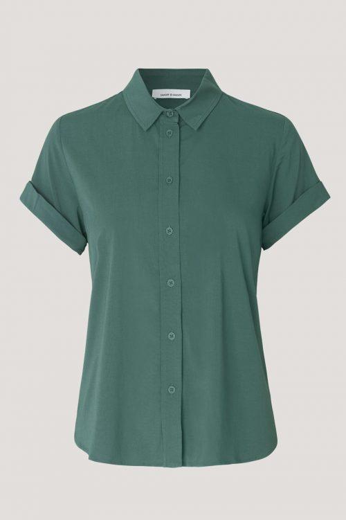 Hvit, sort eller mellard green viskose skjorte med kort erm Samsøe - 9942 majan ss shirt