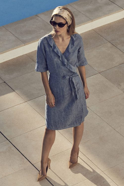 Jeansblå linkjole med volanger Stenstrøms - 480019 6152