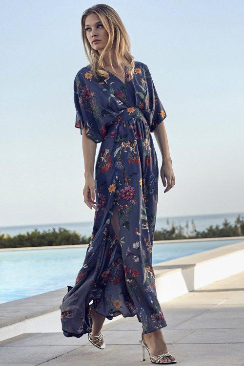 Blåblomstret lang kjole med flaggermusermer og høy splitt Stenstrøms - 480025 6629
