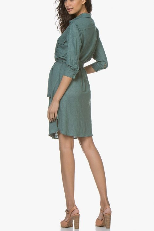 Sjøgrønn eller marine lin skjortekjole Majestic Filatures - j011 fro 018