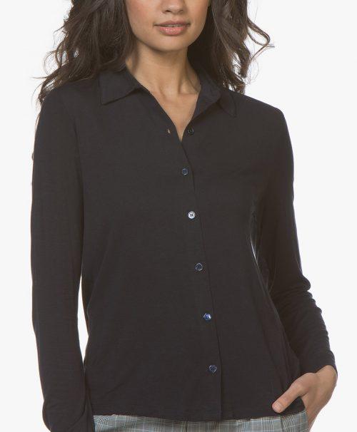 Marine eller dus pudder viskose a-shaped skjorte med legg bak Majestic - j002 fch 013