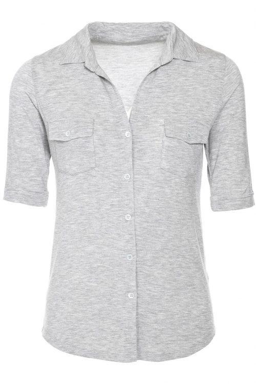 Gråmelert eller sort viskose skjorte med brystlommer Majestic - j002 fch 014