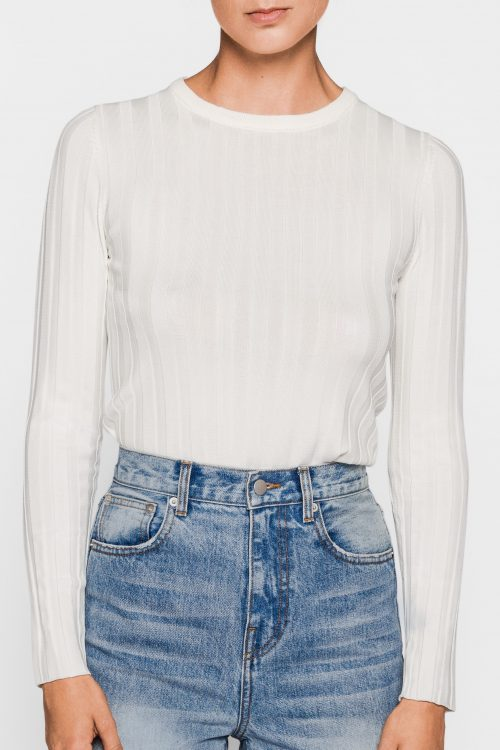Offwhite eller sort ribbet genser viskose One & Other - railey sweater