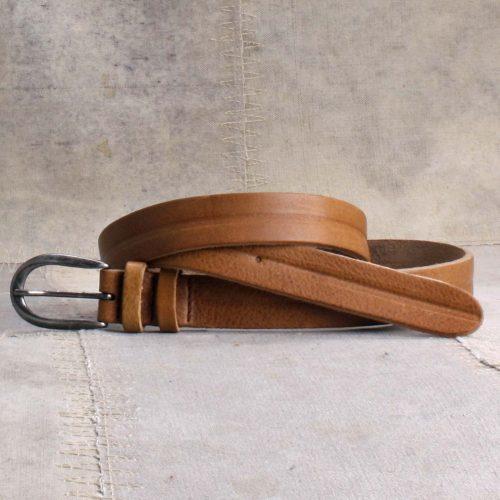 Sand skinnbelte 2,5 cm bredt Bæltekompagniet - Liva 31