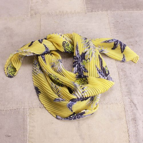 Gult plissé tørkle Bæltekompagniet - Silke-101-18