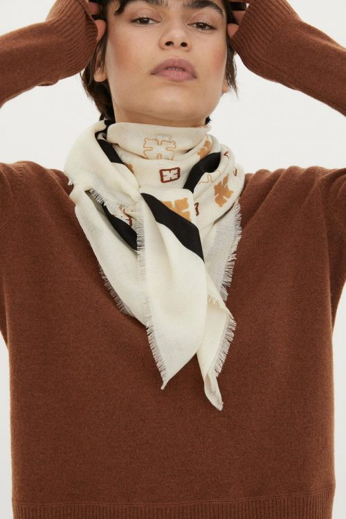 Offwhite med gult ullskjerf By Malene Birger - Wool twill scarf Q55615109 13x