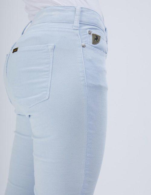 Ecru eller lyseblå microcord flare bukse med råkant Lois Jeans - 2117-5285 Micro rip - Beverly 14 L32 eller L34