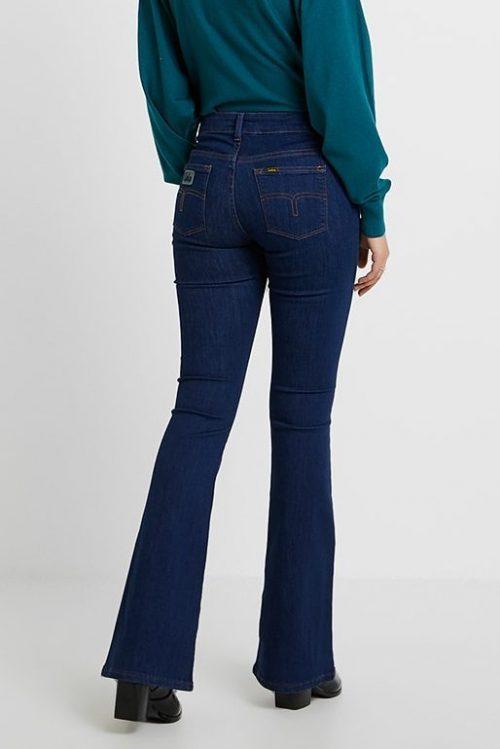 Mørk flare jeans med oker stikninger Lois jeans - raval 5286 leia rinse
