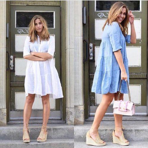 Jeansblå, hvit eller marine lin kjole med pynt Cabana Living