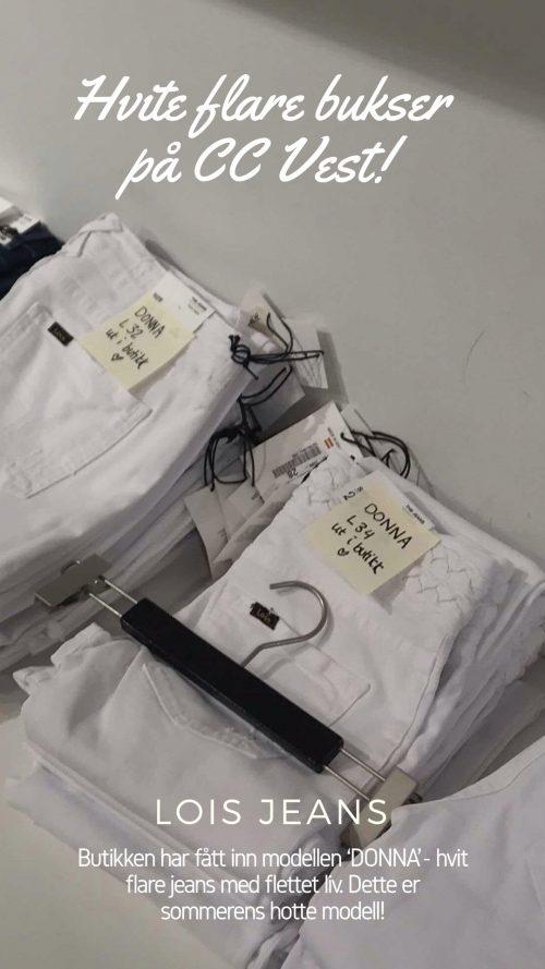 Hvit flare jeans med flettet midje Lois 'Donna'