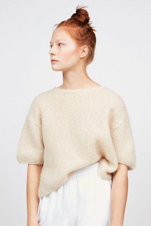 Krem alpakkamiks genser med 3/4 erm American Vintag - mira235