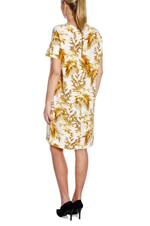 Gulhvit bladmønstret kjole Mos Mosh - 127330 lori cannes dress
