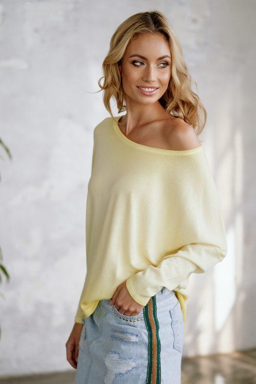 Hvit, gul, nektarin, rosa eller sort bomull genser Cotton Candy - 1192-T1-02 Bente