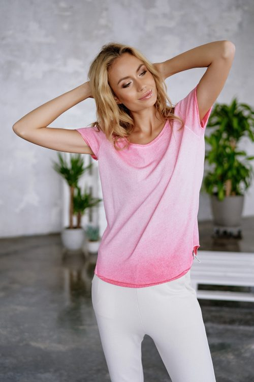 Hvit, rosa eller nectarin faded bomull t-shirt Cotton Candy - 1192-T2-01 arabella