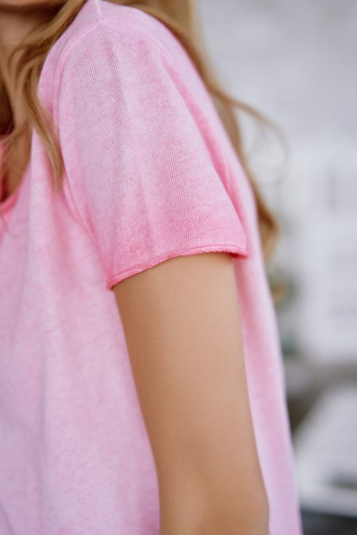 Hvit, rosa eller nectarin faded bomull t-shirt Cotton Candy - 1192-T2-01 arabella