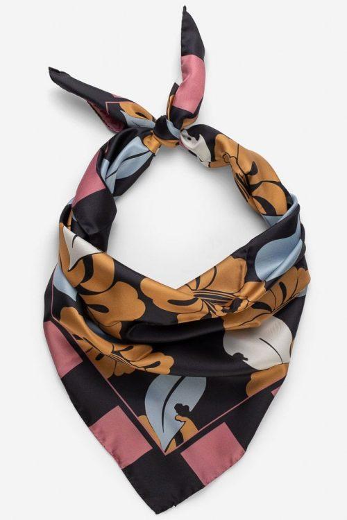 Sortgrå eller rosaorange villrose-mønstret 100% silke skjerf Framhus - adriana 80*80 cm (farge: neutral eller wild rose)
