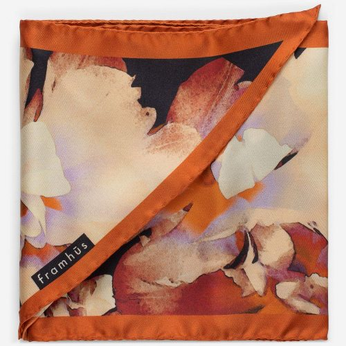 Orangemønstret 100% silke skjerf 'Carmen' Framhus - carmen 22*164 cm