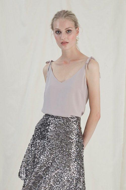 Vaporous grey silke singlett Gestuz - 3314 mirila gz blouse