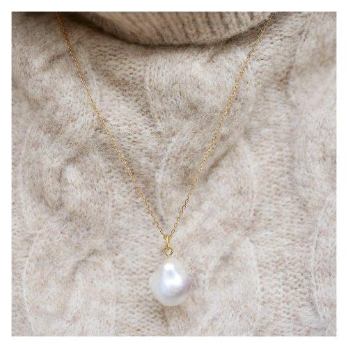 Gullforgylt kjede med perle Enamel Copenhagen - necklace Baroque pearl