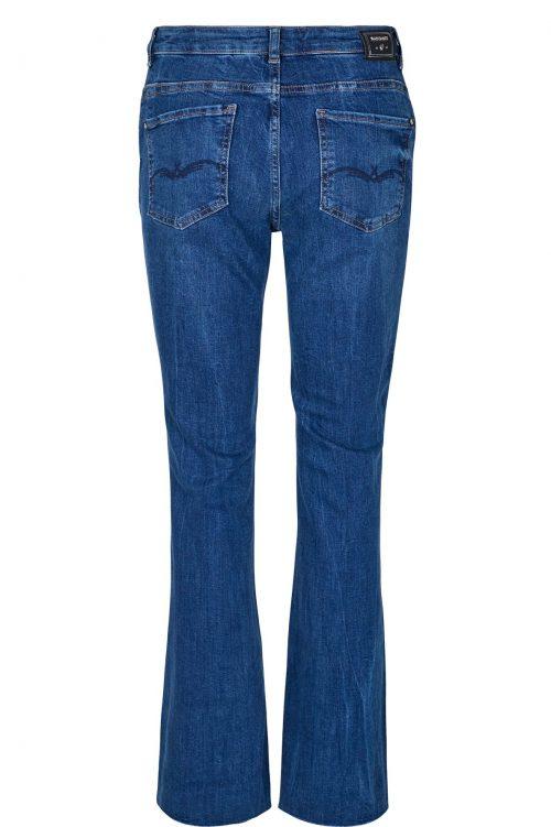 Blue denim flare jeans med zip Mos Mosh - 129091 simone zip long jeans
