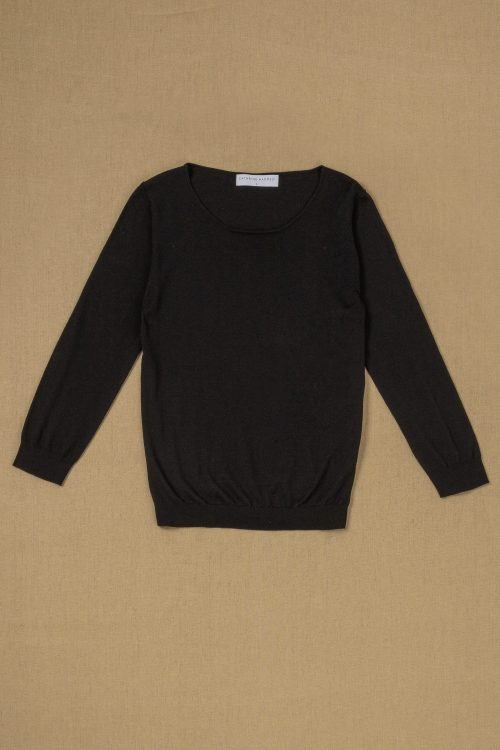 Sort, oatmeal eller dark ink blue (marine) tynnere feminin merino genser Cathrine Hammel - 1388 evening sweater