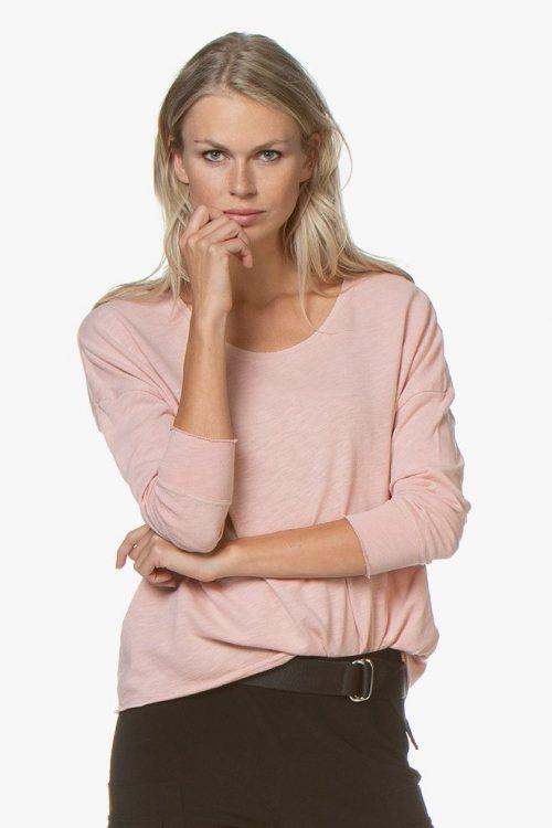 Hvit, sennep, dus rosa eller sort tøff bomull long sleeve top American Vintage - son 36