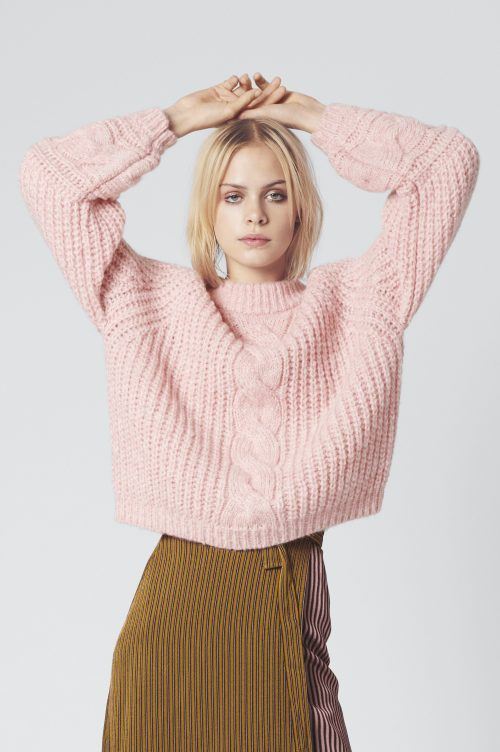 Rosa flettet alpakkamix genser Gestuz - zia pullover 3732