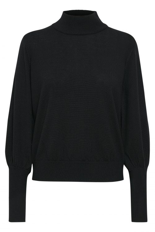 Sort merino pologenser med trendy poseerm Gestuz - rian pullover 3881