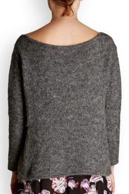 Antracit tynn alpakkamix genser med dyp utringning American Vintage - wox 240